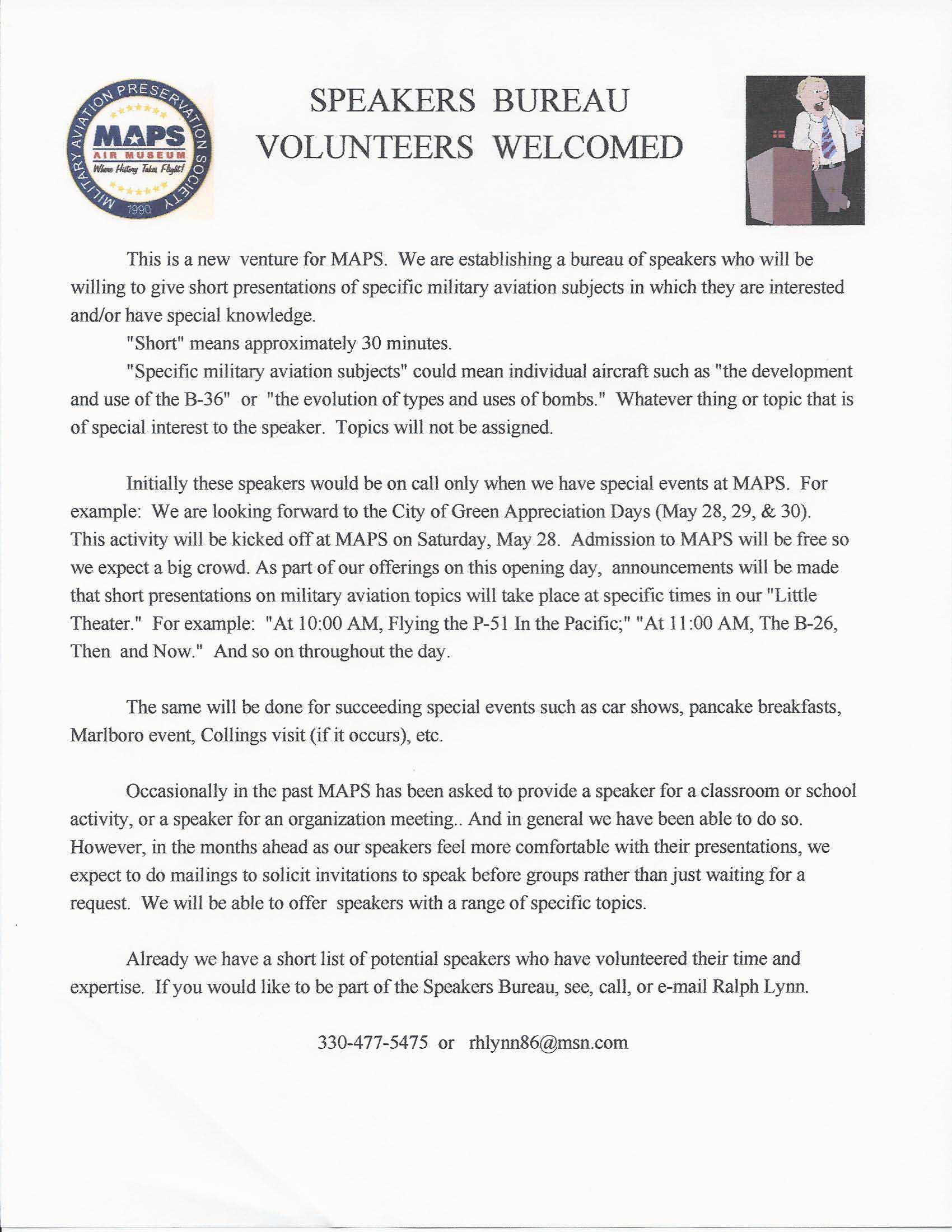 Speakers Bureau Volunteers Document