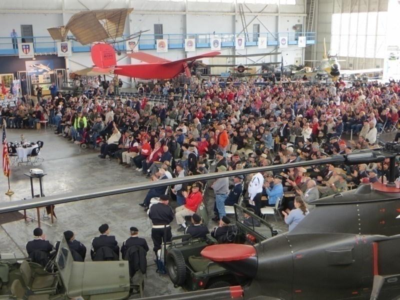 Korean and Vietnam War Veterans gather in the MAPS Air Museum Hangar