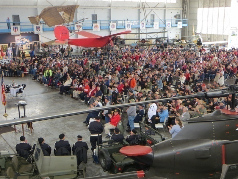 Korean and Vietnam War Veterans gather in the MAPS Air Museum Hangar