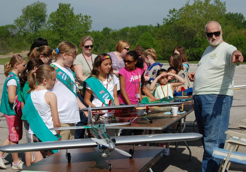 Girl Scouts learning about aviation